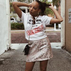 Silver leopard mini skirt